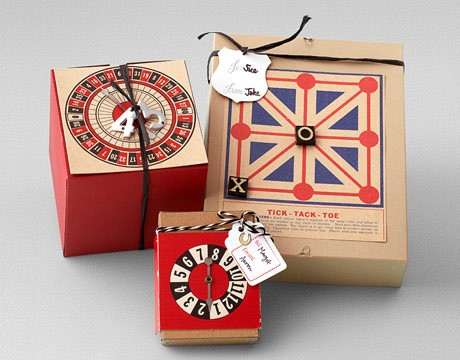 gift wrapping using old board games