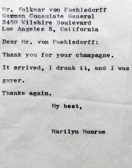 Thank you note - Marilyn Monroe