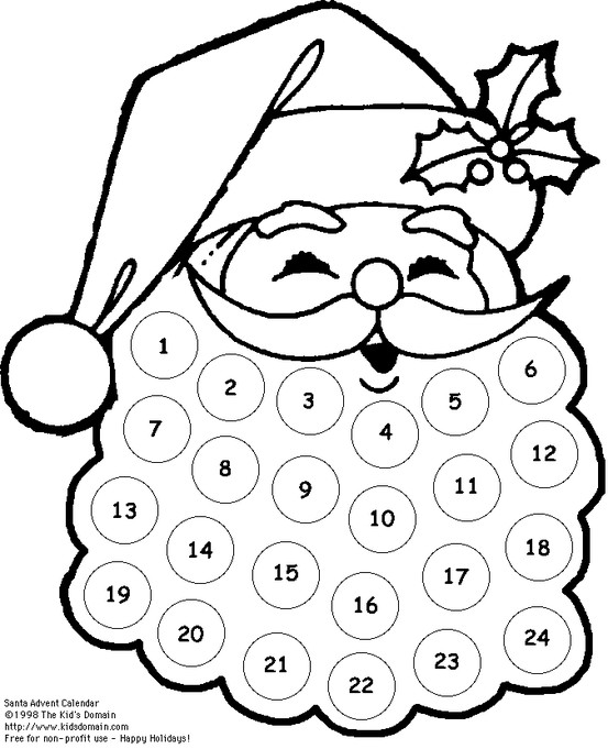 Santa's Beard Advent Calendar Version 2 (printable)